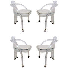 Set of Four Lucite Dining Chairs by Pace Collection