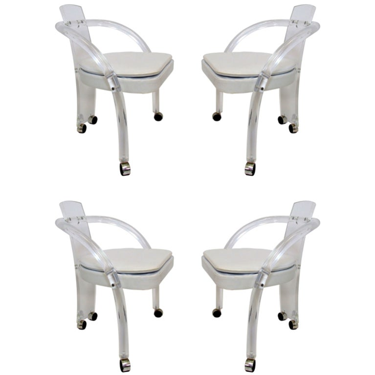 Set Of Four Lucite Dining Chairs By Pace Collection At 1stdibs