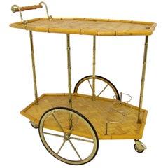 Italian Mid Century Bamboo and Brass Bar Cart