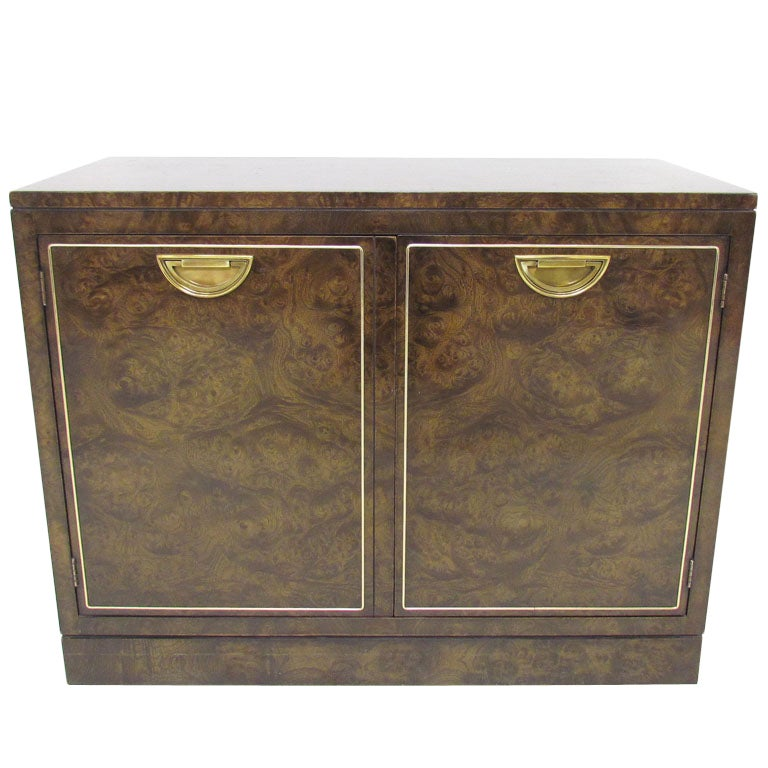 Regency style burl wood console cabinet by mastercraft at for Burl wood kitchen cabinets