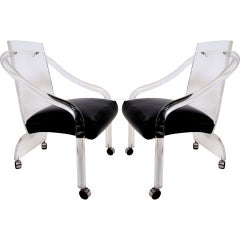 Pair of Lucite Lounge Chairs by Pace Collection