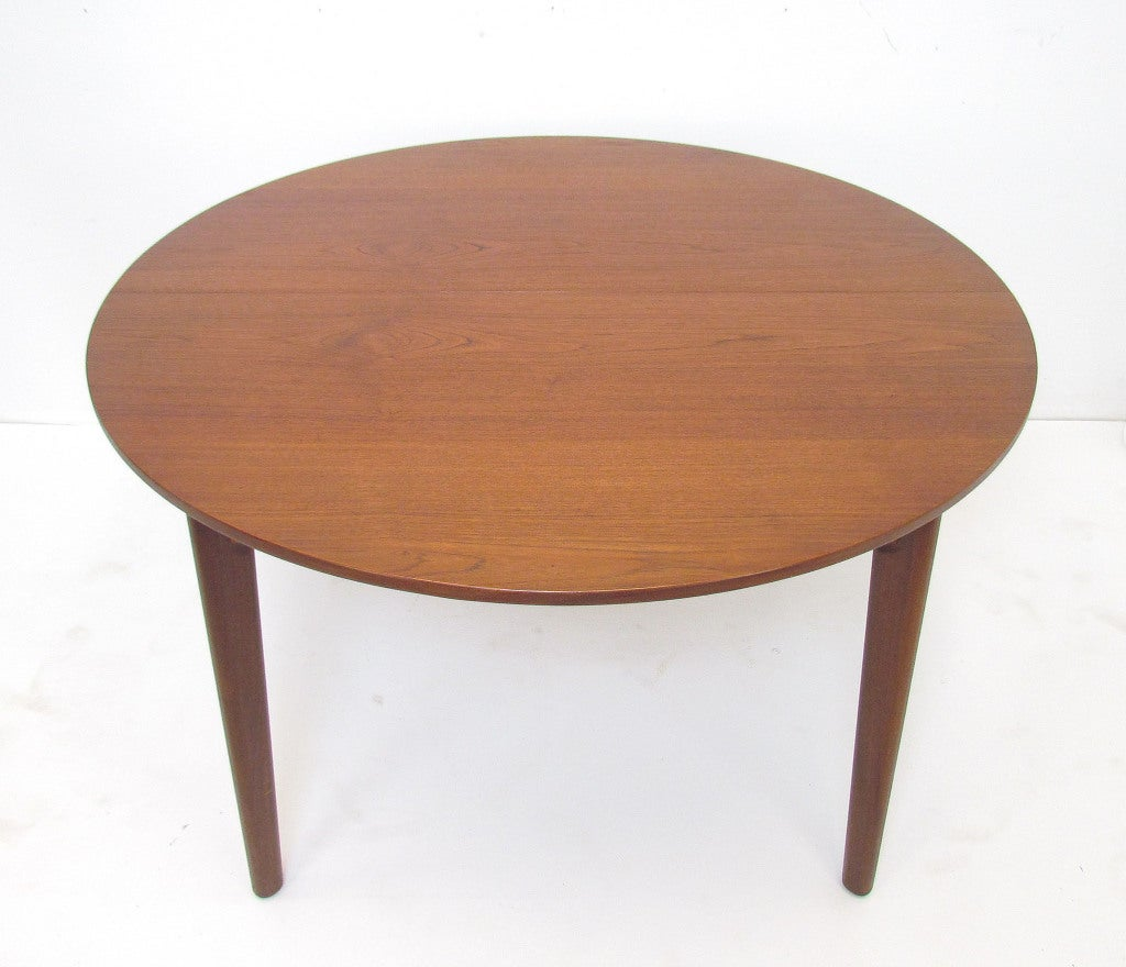 Danish Teak Round Expandable Dining Table By H P Hansen