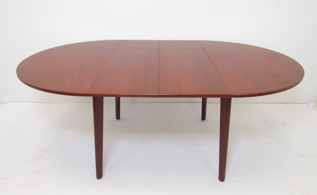 Danish Teak Round Expandable Dining Table by H.P. Hansen at 1stdibs