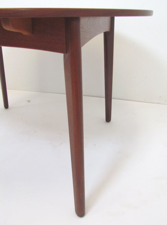 this danish teak round expandable dining table by h p hansen is no