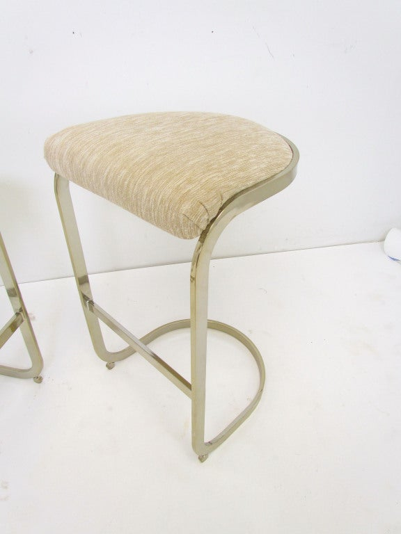 Pr Of Cantilever Bar Stools In The Manner Of Milo