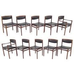 Set of Ten Danish Brazilian Rosewood Dining Chairs ca. 1960s