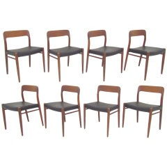 Set of Eight Danish Teak & Leather Dining Chairs by Niels Moller