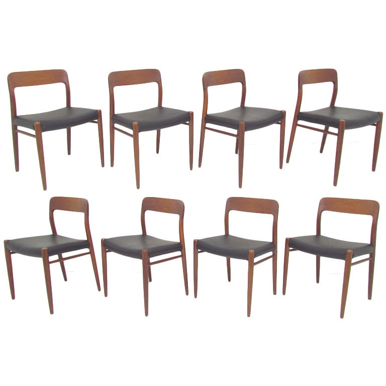 set of eight danish teak and leather dining chairs by niels moller at