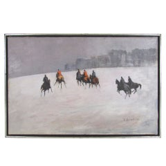 Impressionistic Oil of a Fox Hunt by Rockport Artist Jean Bowlen