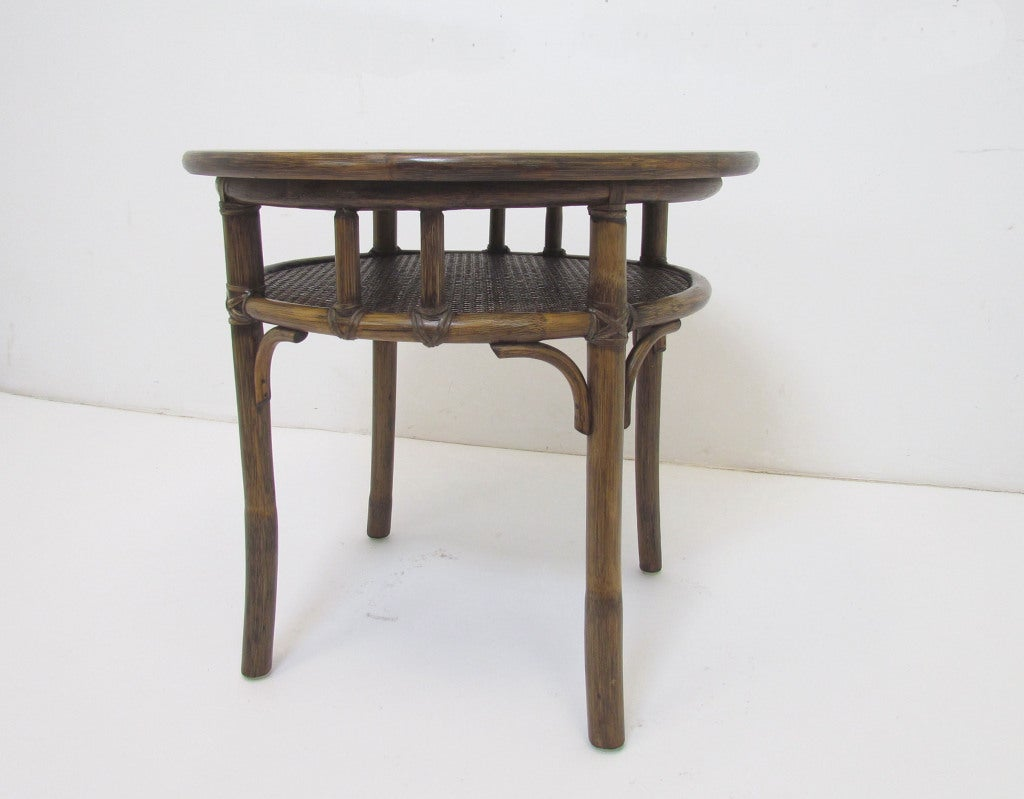 Mcguire oak bamboo and rattan side or lamp table at 1stdibs for Bamboo side table