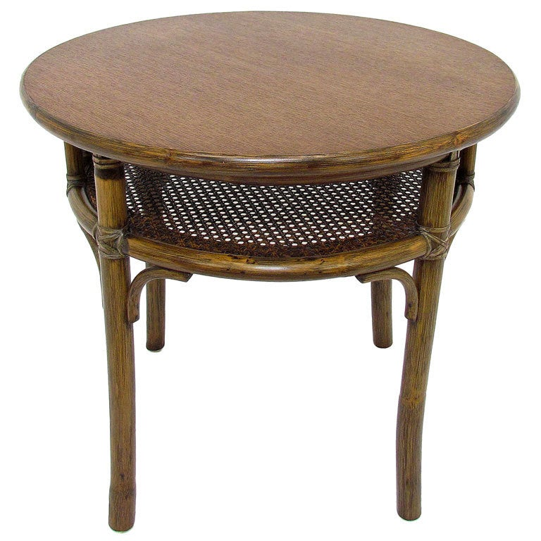 Mcguire Oak Bamboo And Rattan Side Or Lamp Table At 1stdibs