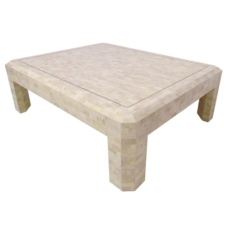 Large tessellated fossil stone coffee table by maitland smith at 1stdibs Granite coffee table