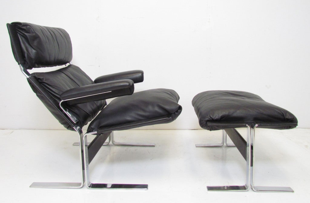 Italian Leather And Chrome Lounge Chair And Ottoman By