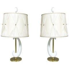 Pair of Porcelain and Brass Crescent Lamps circa 1950's