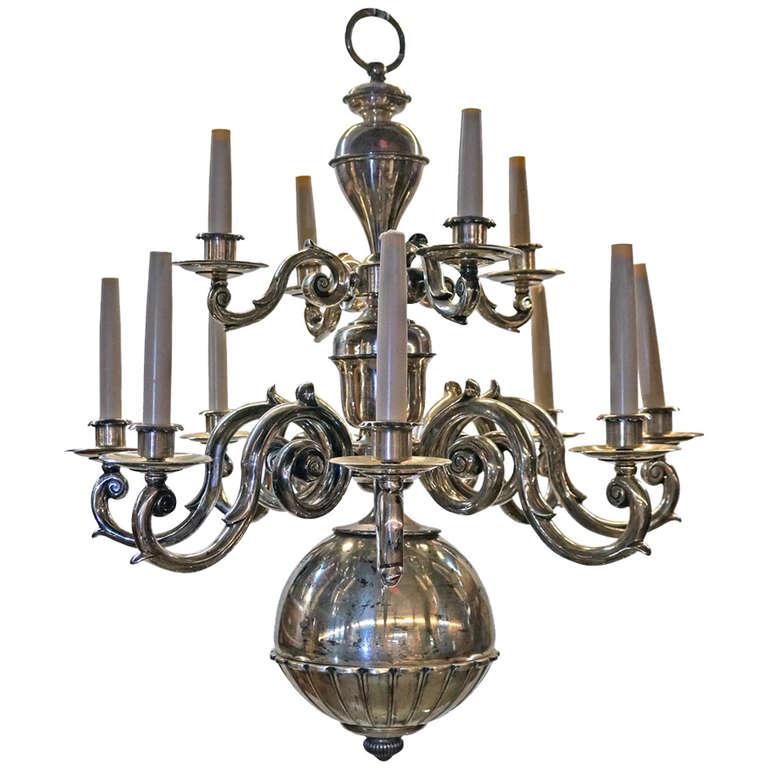 Dutch Baroque Style Brass Two-Tier Twelve-Light Chandelier