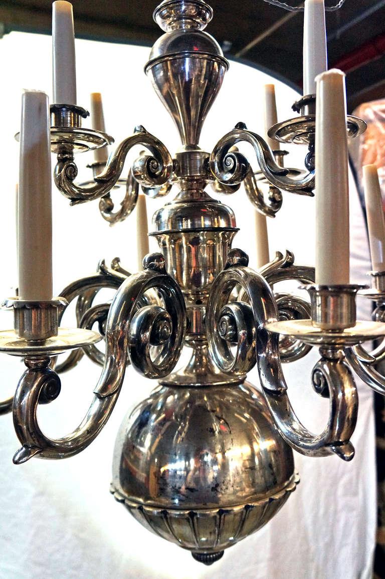 Dutch baroque style brass two tier twelve light chandelier for Dutch baroque architecture