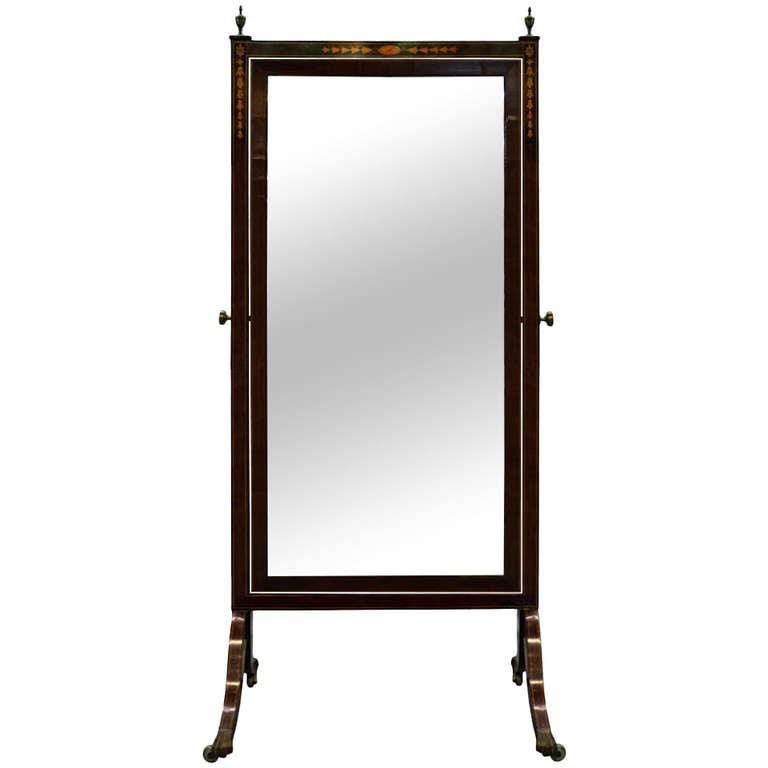 19th Century Mahogany Cheval Mirror with Inlay