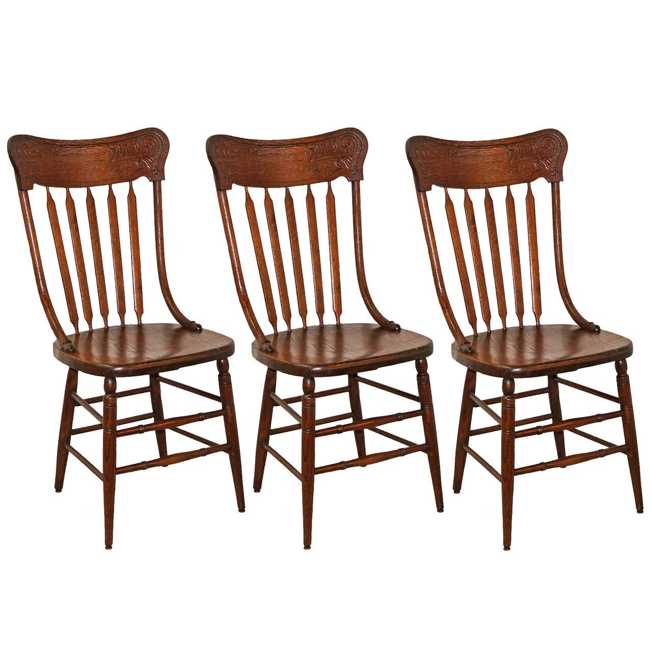 Pressed Back Dining Chairs ~ Oak pressed back chairs for sale at stdibs