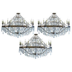 Trio of Ralph Lauren Women's Collection Fall 2015 Fashion Show Chandeliers