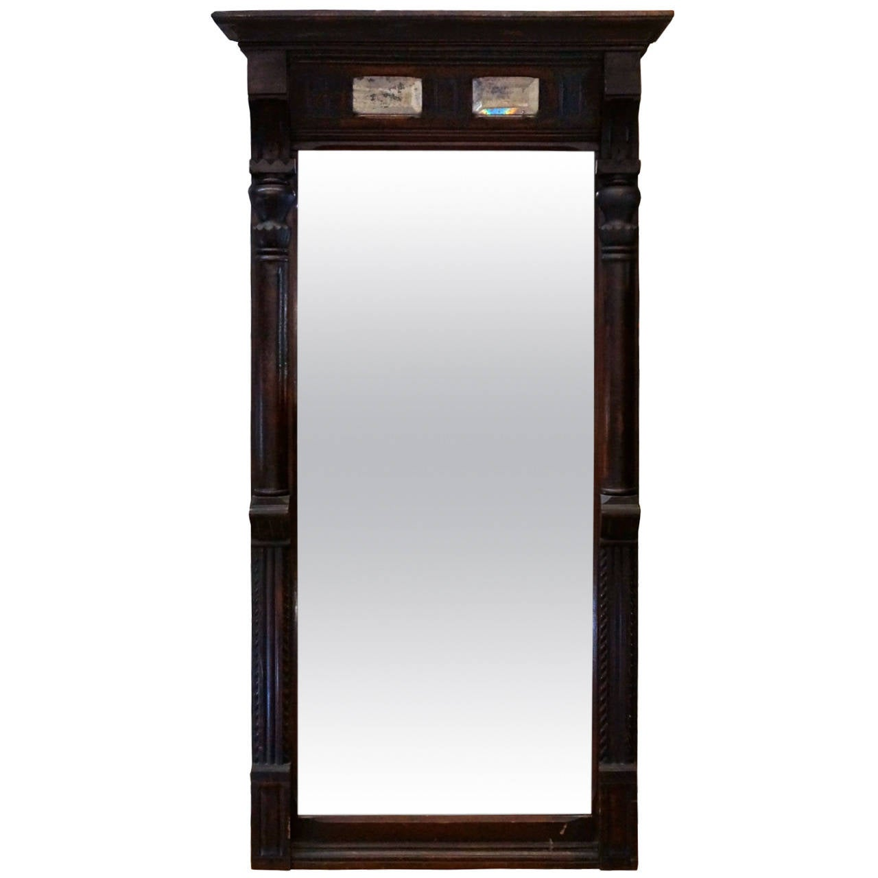 Carved Mahogany Console Mirror