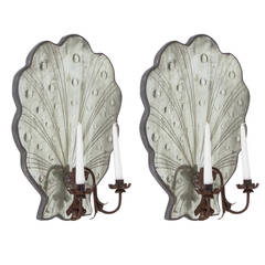 Scallop Edge Mirrored Candle Sconces