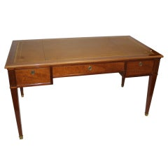 Figured Mahogany and Leather Top Writing Desk