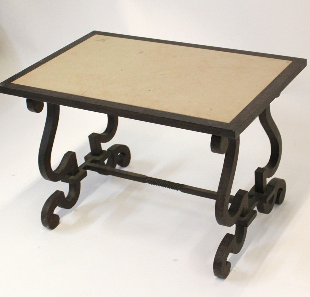 Limestone and wrought iron end table at 1stdibs for Wrought iron side table