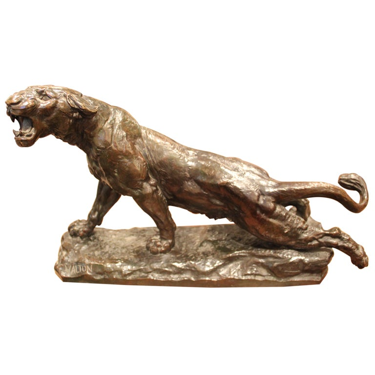 French Bronze Lioness by Charles Valton
