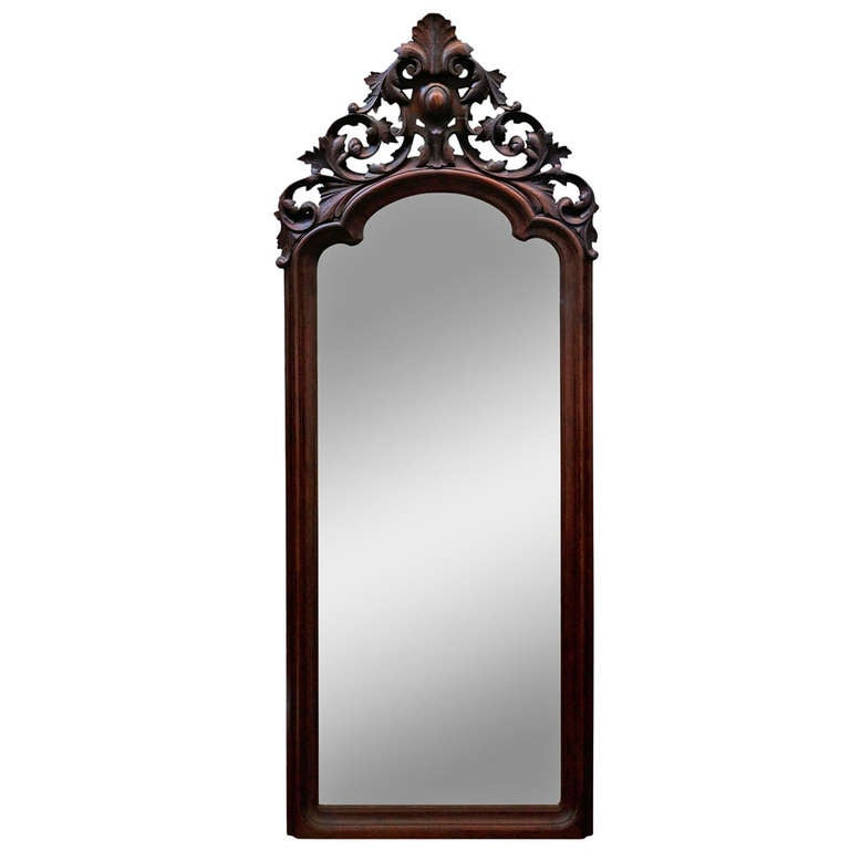 Hand carved victorian full length patina mirror at 1stdibs for Long floor mirror