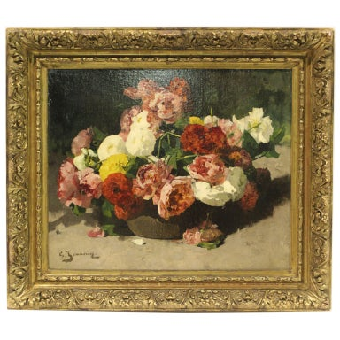 Bouquet de pivoines roses et blanches by georges jeannin for Bouquet roses blanches