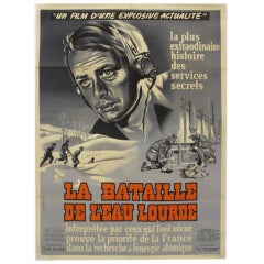 La Bataille De L'eau Lourde Movie Poster Signed by G. Allard