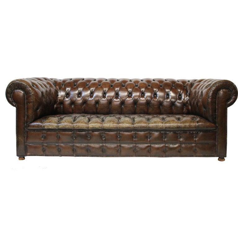Ralph Lauren Tufted Leather Sofa