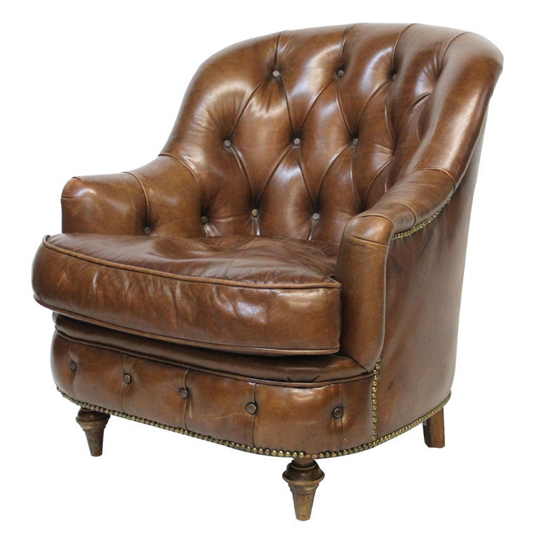 Tufted Leather Sofa And Chair: Leather Tufted Club Chair At 1stdibs