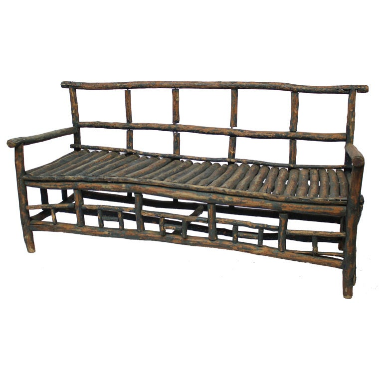 Rustic Twig Bench At 1stdibs
