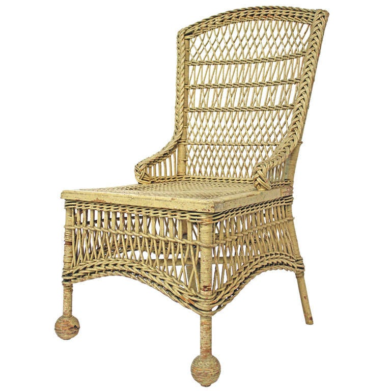 Victorian Wicker Wingback Chair At 1stdibs