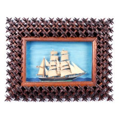 Fine Tramp Art Crown-of-Thorns Sailboat Diorama