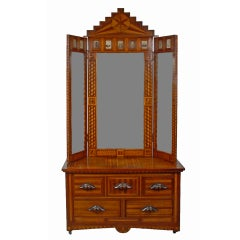 Exceptional Folk Art Marquetry Hall Stand with Tri-fold Mirror