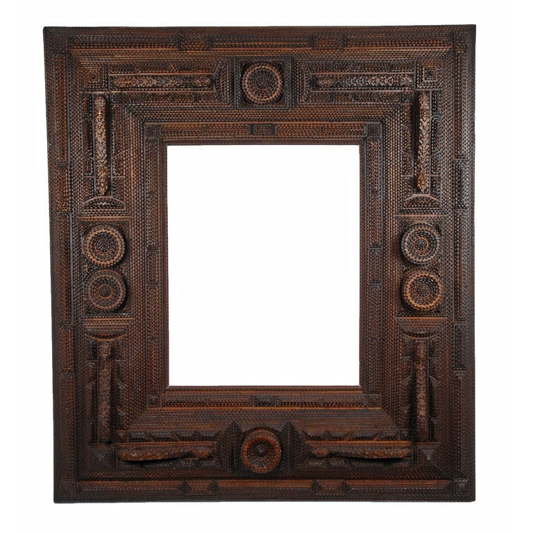 Glorious Masterpiece Tramp Art Deeply Layered Frame At 1stdibs