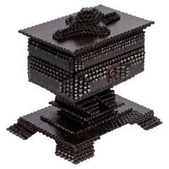 Fine Tramp Art Pedestal Box on Platform