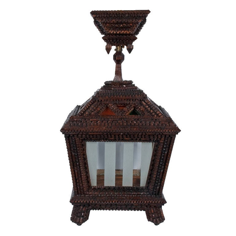 Rare Tramp Art Chandelier With Frosted And Colored Glass