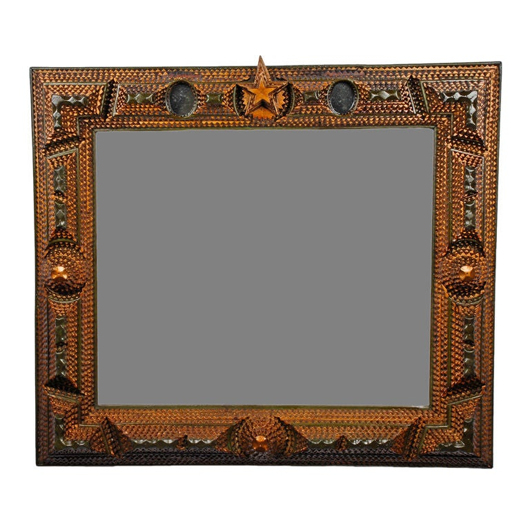 Tramp Art Mirror With Painted Decoration And Inset Mirrors