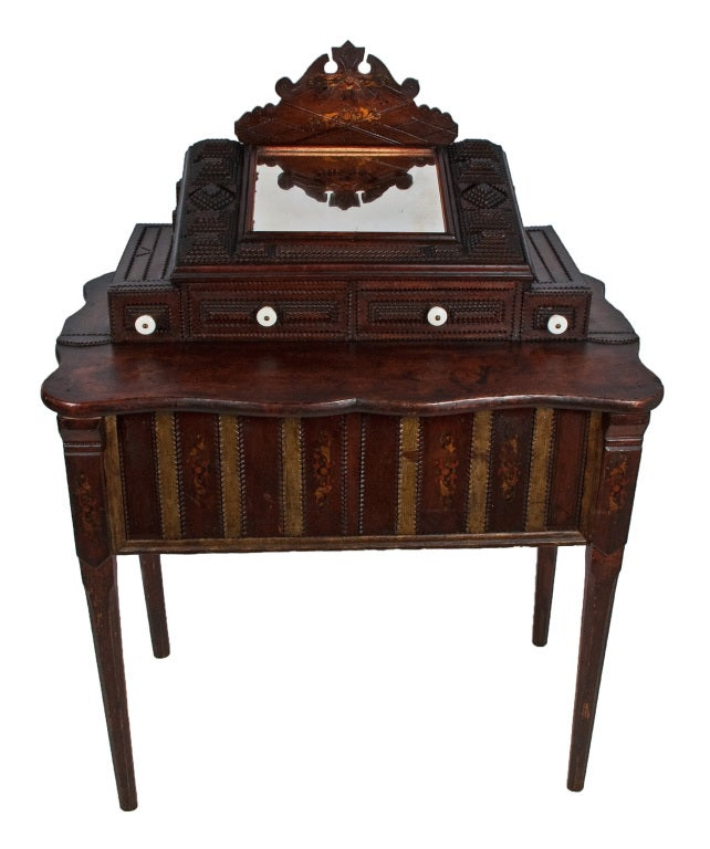 fine tramp art vanity with mirror and drawers at 1stdibs. Black Bedroom Furniture Sets. Home Design Ideas