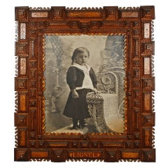 Fancy Tramp Art Frame Inscribed 'Lionel'