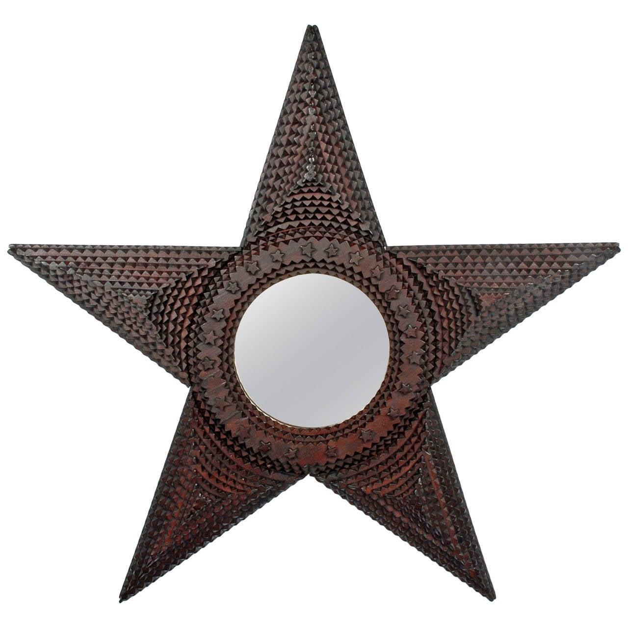 Mirrored Star Wall Decor: Large Star Shaped Tramp Art Mirror, 1890s At 1stdibs