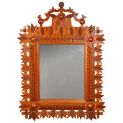 Bold Tramp Art Mirror with Carved Leaves and Apex Top