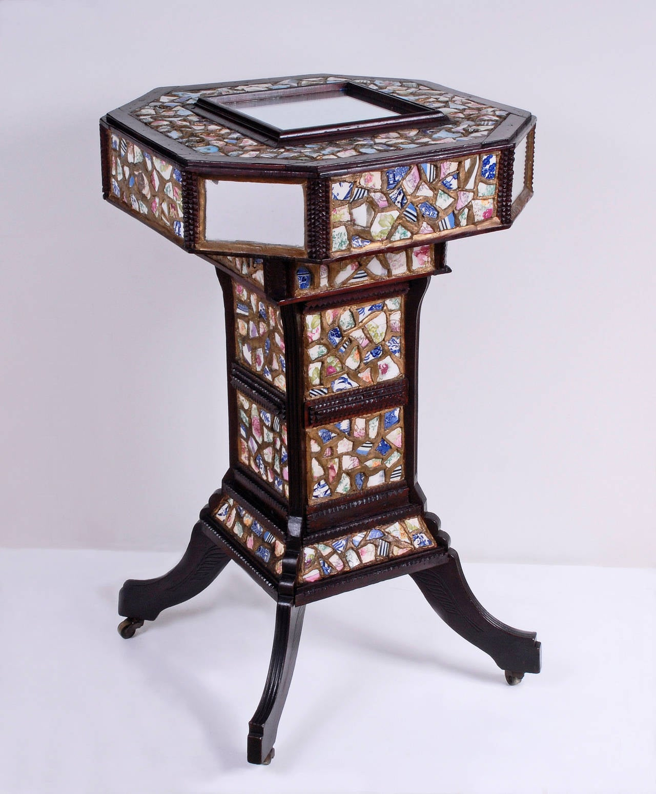 Mosaic Chard Tramp Art Stand With Secret Compartment For Sale At 1stdibs