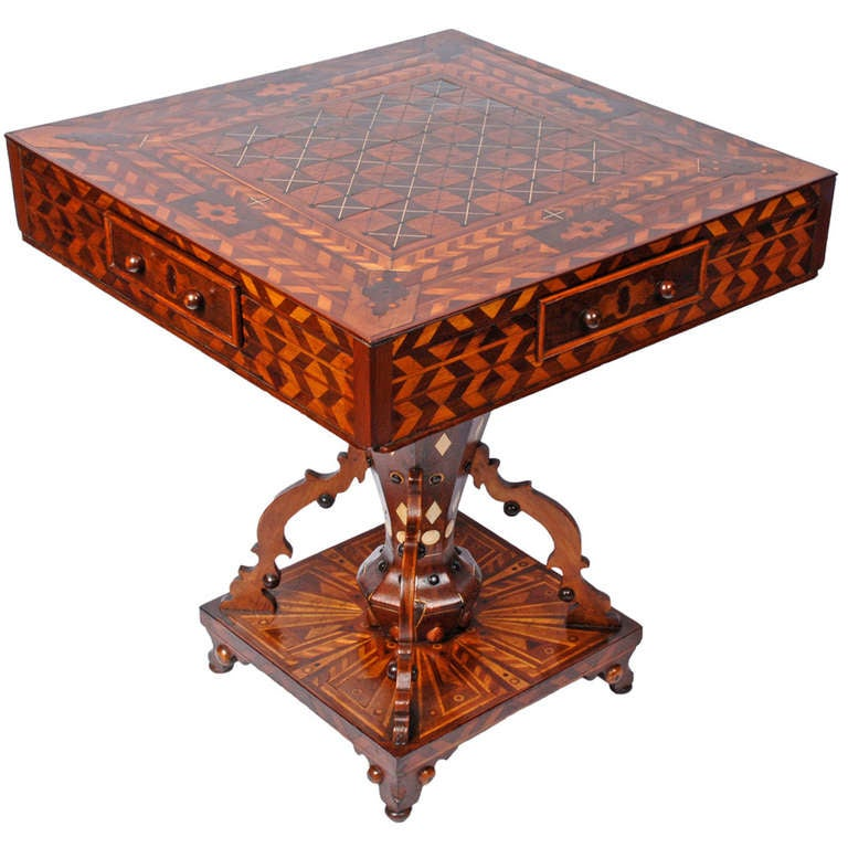 Masterful Folk Marquetry Game Table With Drawers At 1stdibs