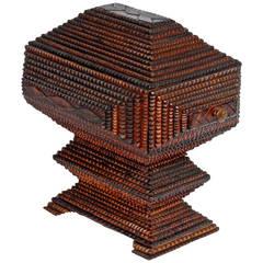 Sculptural Tramp Art Pedestal Box with Drawer