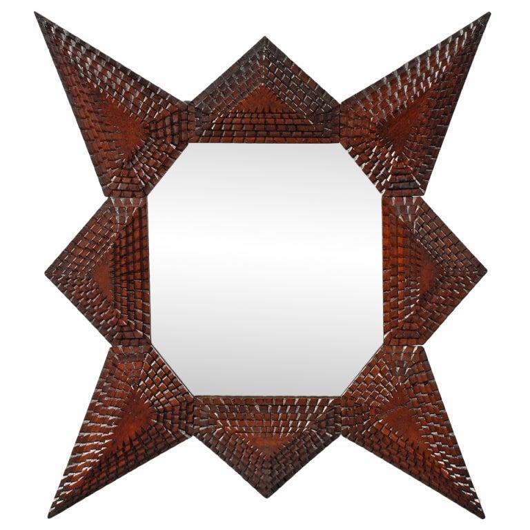 Tramp Art Star Shaped Mirror At 1stdibs