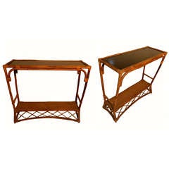 Pair of circa 1950s French Bamboo Colonial Consoles